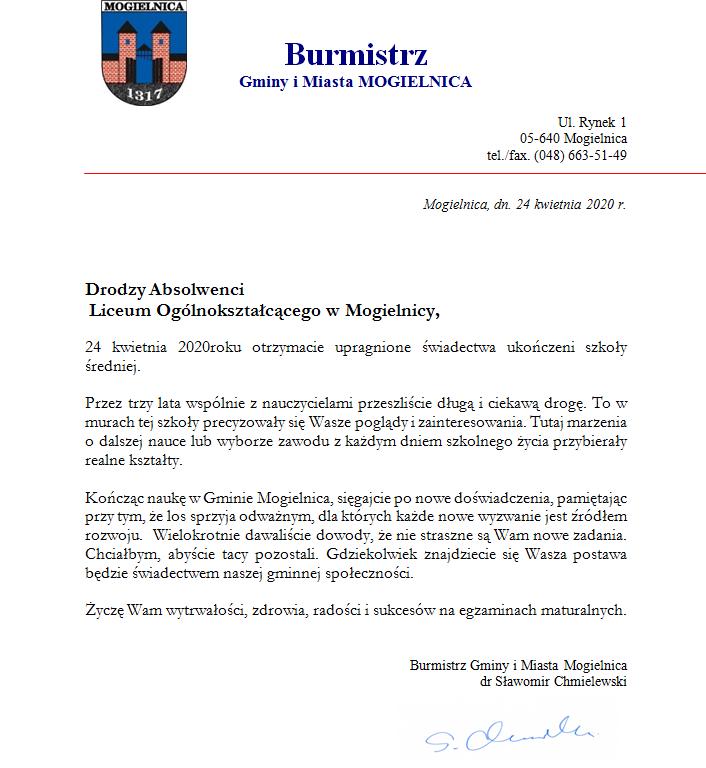 Burmistrz Gminy i Miasta MOGIELNICA do Absolwentów